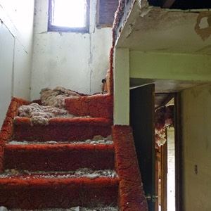 Red Carpet Staircase, Abandoned Property, North Dakota